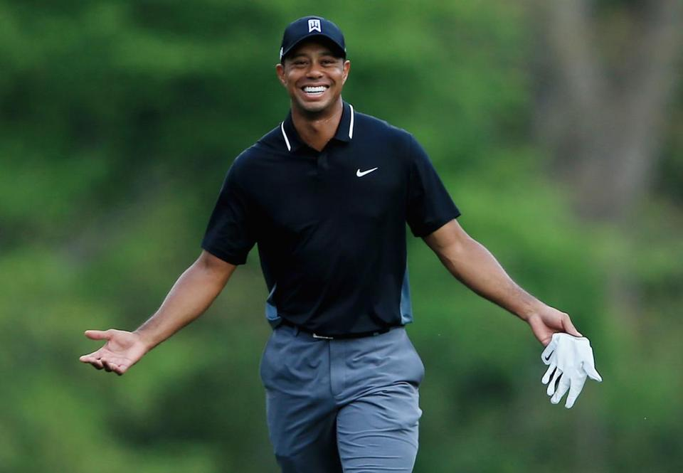 -c- getty Tiger Woods smile Masters 2nd round