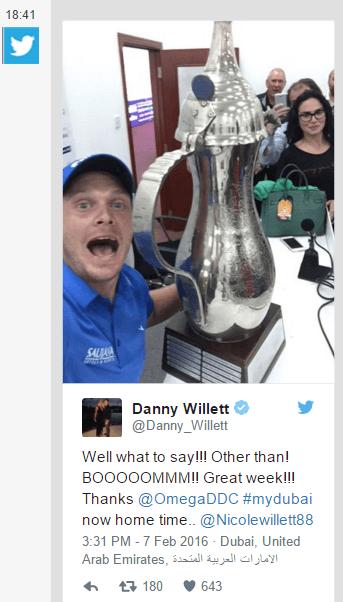 Le Tweet de Danny Willett, très heureux d'emmener un souvenir de Dubaï...